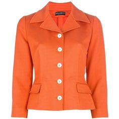 DOLCE & GABBANA cropped blazer (€410) ❤ liked on Polyvore featuring outerwear, jackets, blazers, coats, coats & jackets, blazer jacket, 3/4 sleeve jacket, cropped jackets, orange blazer jacket and orange jacket
