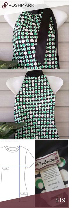 Soulmates Halter Neck Mod 70s Style Soulmates Size Medium Halter Neck ties at side Silky 100 % Polyester Black with white and green dots give a 70s Mod look Soulmates Tops Blouses