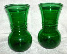 Anchor Hocking forest green vase