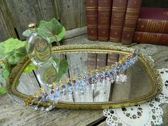 Small Mid Century Vintage Vanity Mirror Dresser Tray Filigree by allthatsvintage56 on Etsy