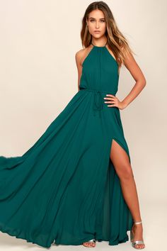 Be the foremost authority in comfy fashion with the Lulus Essence of Style Teal Green Maxi Dress! A tying apron neckline with back cutout tops a drawstring waist, and flowy maxi skirt with side slit. Sexy Dresses, Backless Maxi Dresses, Maxi Wrap Dress, Lace Maxi, Party Dresses For Women, Cute Dresses, Prom Dresses, Maxi Skirts, Banquet Dresses