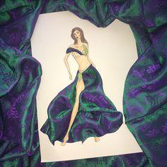 Playing with this new fabric...  #fashion #art #fashiondesigner #fashionillustration #costume #costumedesigner #highfashion #personalfesigner