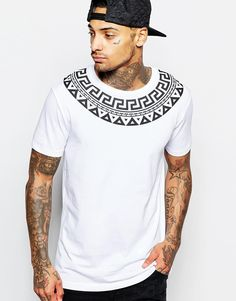 "T-shirt by ASOS Soft-touch jersey Crew neck Printed yoke Relaxed fit Machine wash 100% Cotton Our model wears a size Medium and is 185.5cm/6'1"" tall"