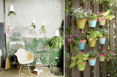 love the painted clay pots attached to the fence