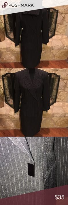 """Three Piece Pin Striped Suit. Blazer, Pants, Skirt Three Piece Pin Striped Suit. Blazer, Pants & Skirt. Size 10 """"Morgan Miller"""" Excellent Condition"""" All proceeds from this sale will go directly towards purchasing hygiene items for the homeless in downtown Austin. Price is Negotiable! Send me an offer! Morgan Miller Other"""