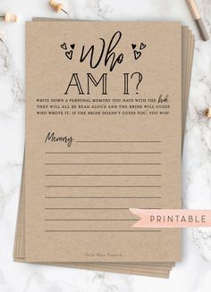 Who am I Bridal Shower game. Favorite memories of the bride. - Who am I Bridal Shower game. Favorite memories of the bride. Printable instant do - Bridal Shower Planning, Wedding Shower Games, Bridal Shower Party, Bridal Shower Rustic, Wedding Planning, Bridal Shower Activities, Printable Bridal Shower Games, Best Bridal Shower Games, Disney Wedding Shower Ideas