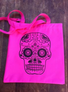 Sugar Skull Day of the Dead Tote Bag by dozydoatstotes on Etsy, $15.00