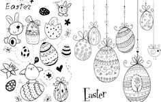 Easter doodles vector - free download