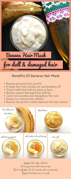 Banana Hair Mask is best for hair as it provides nutrients to the dull & damaged hair, repairs them, helps in hair growth and makes them soft & shiny. #hairgrowthproducts