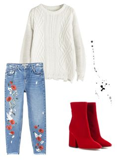 """Red and white."" by djamilladjamilla on Polyvore featuring mode, MANGO en Maison Margiela"