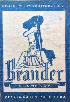 Tulitikkuaskin etiketti. Porin tulitikkutehdas oy. Brander & kumpp. oy. Keskimäärin 50 tikkua.