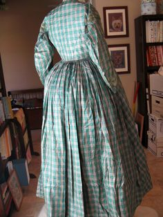 """back view - Victorian Green Plaid Silk Dress c1864 Civil War 
