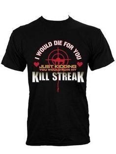 KILL Streak Gaming hombre T-Shirt negro #camiseta #realidadaumentada #ideas #regalo