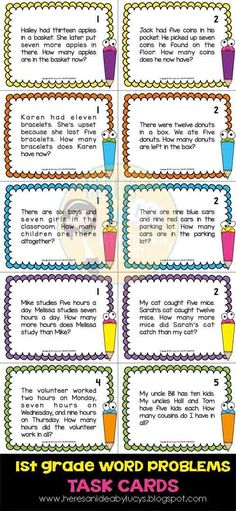 First Grade Math Word Problems - 63 task cards - Common Core Math Classroom, Kindergarten Math, Teaching Math, Elementary Math, Math Math, Math Tutor, Math Education, Education Quotes, Math Problem Solving