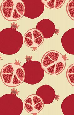 Pomegranates by lodesign (aka Liz Ablashi at Eine Kleine Design Studio) Pomegranate Pictures, Pomegranate Art, Pomegranate Drawing, Pomegranate Tattoo, Surface Pattern Design, Pattern Art, Print Patterns, Fruit Illustration, Pattern Illustration