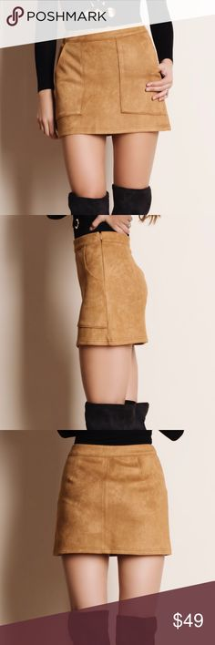"""Suede Mini Skirt with Pockets Mini skirt made of faux suede with pockets. This is an ACTUAL PIC of the item - all photography done personally by me. Model is 5'9"""", 32""""-24""""-36"""" wearing the size small. NO TRADES DO NOT BOTHER ASKING. PRICE FIRM. Bare Anthology Skirts Mini"""