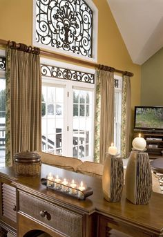 Tableaux® Faux Iron and Veneer grilles inserted into door transoms, fanlights, transom lights, or transom windows add considerable value to any interior design Iron Windows, Front Doors With Windows, Transom Windows, House Windows, Transom Window Treatments, Unique Window Treatments, Window Coverings, Elderly Home, Iron Decor