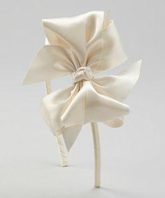 Ivory Satin Bow Headband