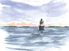Peck's Ledge Light, Norwalk Watercolor prints and note cards of over 250 lighthouses all over the USA.  Start your collection today. Original paintings by sailor/artist  Alfred La Banca, Darien, CT