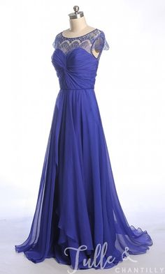 Bateau Neck Lace Cap Sleeves Chiffon And Lace Bridesmaid Dress TBQP303 click for 40+ colors