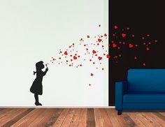 HEART BUBBLES Girl DIY   Wall Art Decal, Soap Bubbles, Street Art Banksy Style Sticker, Vinyl Art , Urban Interior Design, Soul Bubbles