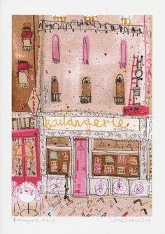 PARIS PRINT BOULANGERIE sale 30% French Bakery Shop Paris Cafe Art Signed Print Mixed Media Painting Paris Wall Decor Clare Caulfield (35.00 GBP) by ClareCaulfield