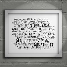 Michael Jackson Thriller limited edition typography lyrics art print, signed and numbered album wall art poster available from www.lissomeartstudio.com