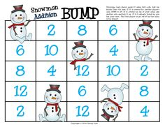 """Snowman Addition Doubles Game, Bump"""" (free; from First Grade a la Carte)"""