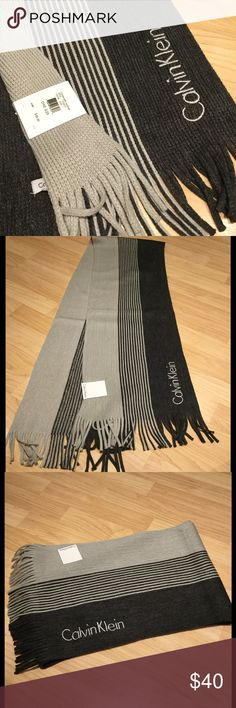 """NWT Calvin Klein Men's Muffler Awesome color shift muffler scarf by Calvin Klein with approx 2 1/2"""" fringe on ends.  Approx 71"""" x 8"""".  100% Acrylic Calvin Klein Accessories Scarves"""