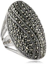 Sterling Silver Marcasite Oval Ring #unusualengagementrings