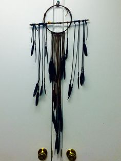 Branch Dreamcatcher- large brown and black leather dreamcatcher by DreamingCircles on Etsy