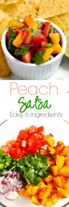 This easy peach salsa is the perfect summer appetizer, and it is great on chips or as a topper on grilled fish or chicken.| APinchOfHealthy.com