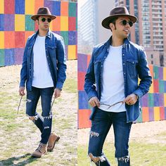 Get this look: http://lb.nu/look/8179813  More looks by Franko Dean: http://lb.nu/frankodean  Items in this look:  Levi's® Denim Shirt, Topman Ripped Jeans, Cat Footwear Orso Boots, Ray Ban Rounded Sunglasses, Urban Outfitters Wool Hat   #bohemian #edgy #street #look #mensfashion #spring #festival #summer #gentleman