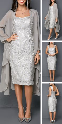 Open Front Top and Tie Back Sleeveless Sheath Dress - Fashion /Cocktail Dress - Abendkleid Tee Dress, Belted Dress, Chiffon Dress, Sheath Dress, Dresses For Sale, Dresses Online, Elegantes Outfit, Groom Dress, Bridal Lace