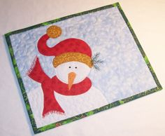 Snowman Applique Quilted Mug Rug