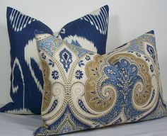 Kravet Decorative Pillow Cover Ikat lumbar pillow by WilmaLong Blue Throw Pillows, Accent Pillows, Decorative Cushions, Decorative Pillow Covers, Brick Room, Blue China, Home Decor Fabric, Fabric Swatches, Tan Rooms
