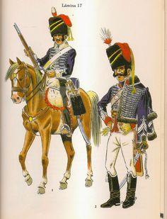 Regno di Spagna - Hussars of Almansa, Hussar & Lieutenant 1812-14.
