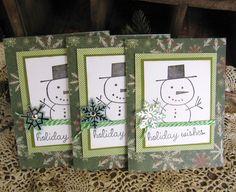 Christmas Card Set Snowman Card Handmade Card by KathleenRobinaugh, $10.00