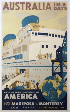 Original Travel Poster Australia 1932 Melbourne Brindle Matson Oceanic 24x39 #Vintage