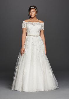 Lace off-the-shoulder A-line gown with illusion neckline, short sleeves, and beaded waistband. Sweep train.