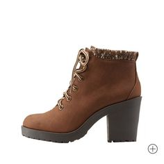 """SALE NWT Sweater Cuff Heeled Combat Boots Brand new boots! Bought a couple, just wound up liking the tan version better. Brown faux leather with marbled knit around ankles. Block rubber heel and sole. 3.5"""" heel and 0.5"""" platform. Charlotte Russe Shoes Combat & Moto Boots"""