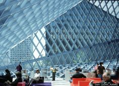 Seattle Public Library. Great spaces to sit and contemplate with amazing window architecture and light coming into the reading room.