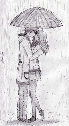 If you ever have been in love then you can realise how much romantic couple pencil sketches make you happy when you see them. Some small gestures make your Rainy Day Drawing, Drawing Rain, Kissing Drawing, Drawing Tips, Cool Pencil Drawings, Love Drawings, Art Drawings Sketches, Pencil Art, Romantic Couple Pencil Sketches