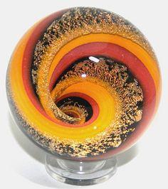 Summer Caramel Lampwork Vortex Marble Paperweight