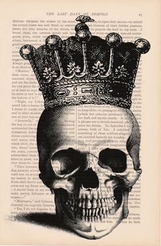60feaf095054 Halloween decorations dictionary art print - SKULL with CROWN - skull  halloween…