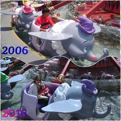 Austin's first visit in Disneyland was in 2006 (5 y/o)... He rode on a Dumbo ride with the purple color. Aislinn's first visit is this year 2016 and coincidentally Aislinn rode on the purple one too!... cutemytwohappiness#fun#memories#lovethembothsomuch# by cinderella_bluelove