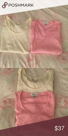 """🎀Bundle of 2 Lilly Pulitzer Ribbed Scoopnecks🎀 Listed these individually but decided to list them as a bundle. If anyone prefers to buy one solo,just comment and we can work something out. These are great long sleeve """"vintage"""" Lilly long sleeve fitted ribbed scoop neck tees. Super flattering and so comfortable. Size XS. In mint condition, worn a handfuls of times In college (the Ivory one), the pink one not so much. Have been dry cleaned and untouched since:) price is firm, no trades. 💖…"""
