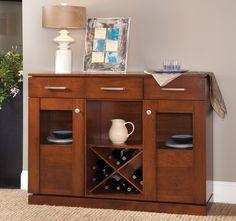Maple Credenza with wine rack.