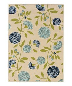 I like the blue flowers in this rug, on #zulily! Ivory Hyrcania Bloom Rug #zulilyfinds
