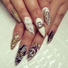 White, gold, black stiletto nails #laque #laquenailbar #getlaqued by laquenailbar http://ift.tt/1ln8WMN